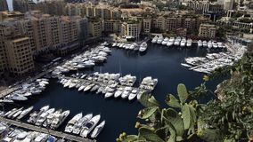 Monaco Port. Areal view of the luxury yachting port of Fontvieille in Monaco Royalty Free Stock Photos