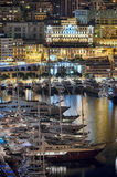 Monaco port at night Royalty Free Stock Photography