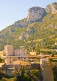 Monaco Prince Palace. Prince Palace and the mountains, Monaco stock photo