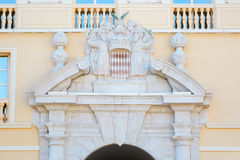 Monaco Prince's Palace with coat of arms over the entrance Royalty Free Stock Images