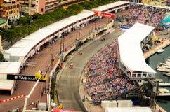 Monaco GP 2012. Monaco, Principality of Monaco - May 27th, 2012: formula 1 cars during the race. The Ferrari of Fernando Alonso and Felipe Massa are followed by Stock Photography