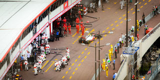 Monaco GP 2012. Monaco, Principality of Monaco - May 27th, 2012: pit-stop for Lewis Hamilton, MacLaren driver in 2012 Royalty Free Stock Photography