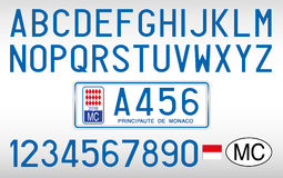 Monaco Principate samochodu talerz, listy, liczby i symbole, Hiszpania Fotografia Royalty Free