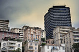 Monaco Residential Buildings. Photograph showing some of the typical architecture in the La Condamine district of Monaco, close to Monte Carlo. Residential stock photography