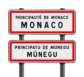 Monaco road signs entrance Stock Image
