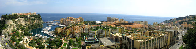Monaco, the Rocher and Fontvieille district. A panoramic view of Fontvieille district in Monaco Royalty Free Stock Images