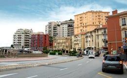 Monaco - sikt av staden från drevstationen Monaco-Ville Arkivbild