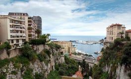 Monaco - sikt från drevstationen Monaco-Ville Fotografering för Bildbyråer