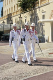 Monaco soldiers marching. Three Monaco soldiers marching. Prince Palace. Monaco Royalty Free Stock Image