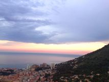 Monaco-Sonnenuntergang, Panoramaansicht Lizenzfreies Stockbild