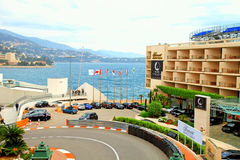 Monaco street and Fairmont Hotel in Monte Carlo Stock Photos
