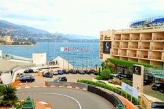 Monaco street and Fairmont Hotel in Monte Carlo Stock Photos