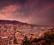 Monaco sunset clouds Stock Photos