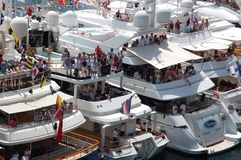 Monaco, toeschouwers tijdens de Grand Prix 2009 Stock Afbeeldingen