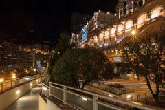 Monaco uliczny widok w nocy obraz stock