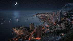 Monaco under the moonllght. Monaco monte Carlo in the night Royalty Free Stock Photos
