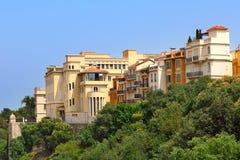 Monaco-Ville bostads- byggnader. Arkivfoto