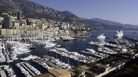 Monaco Yacht Show. Wide view of the hercule port with the monaco yacht show 2006 Stock Photo