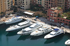 Monte Carlo yachts. Luxury yachts docked in Monaco harbour, south of France Stock Photography
