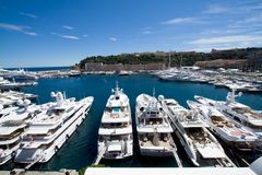 Monaco yachts harbor Royalty Free Stock Images