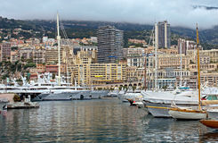 Monaco - Yachts in the port Hercules Royalty Free Stock Image