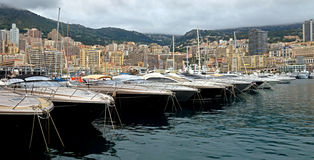 Monaco - Yachts in the port Hercules Royalty Free Stock Photography