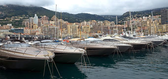 Monaco - Yachts in the port Hercules Stock Images