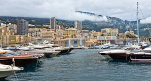 Monaco - Yachts in the port Hercules Stock Photos