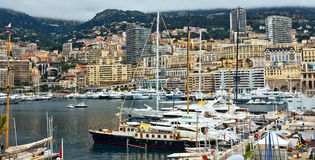 Monaco - Yachts in the port Hercules Stock Photography