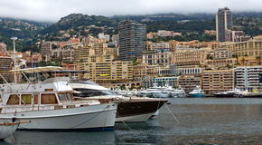 Monaco - Yachts in the port Hercules Royalty Free Stock Images