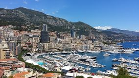 Monaco Yatch klubba Sikter på den Monaco slotten Arkivfoton