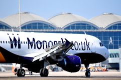 Monarach air line airbus a 320 aircraft landing in the airport of alicante, spain Royalty Free Stock Image