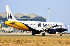 Monarch airlines airbus flight model in alicante airport terminal Stock Photography
