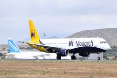 Monarch airlines airbus model comercial flight in piste Stock Photo