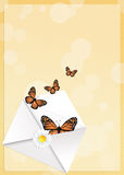 Monarch butterflies in the envelope Stock Photos
