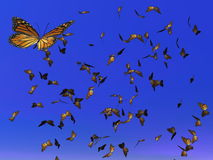 Monarch butterflies migration - 3D render. Lots of colorful monarch butterflies flying for their annual migration in deep blue sky Royalty Free Stock Photos