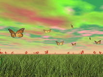 Monarch butterflies in nature - 3D render Royalty Free Stock Image