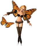Monarch Butterfly Fairy - 2. Digital render of a monarch butterfly and fairy with monarch butterfly wings Royalty Free Stock Photos