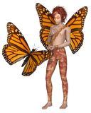 Monarch Butterfly Fairy Boy. Fantasy illustration of a Monarch butterfly and red haired fairy boy with monarch butterfly wings, 3d digitally rendered Stock Photo