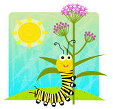 Monarch Caterpillar Holding Flower Stock Images