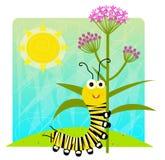 Monarch Caterpillar Holding Flower. Cute cartoon monarch caterpillar holding flower. Eps10 Stock Images
