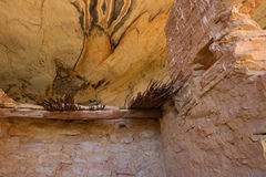 Monarch Cave Ruin. Thatched Roof of  Monarch Cave Ruin in Butler Wash, Comb Ridge, Utah Stock Photos