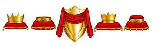 Monarch coronation ceremony attributes vector set stock illustration