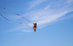 Monarch-Drachen, der den Strand fliegt Stockfotografie