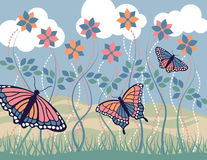 Monarch Morning Blue. An illustration of three Monarch butterflies and flowers on a summer morning Stock Photography
