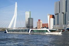 River cruise ship MONARCH QUEEN in Rotterdam, Netherlands. The MONARCH QUEEN is a first class river cruise vessel chartered exclusively by Gate 1 Travel and was Royalty Free Stock Images