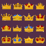 Monarch shining crown, pope tiara, queen headdress. Royal crown, king or prince, princess or queen shiny headdress, golden pope tiara. Monarchy and imperial sign vector illustration