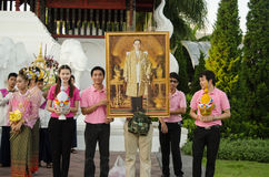 Monarchist Youth, Thailand. Chiang Mai, Thailand - December 3, 2012: Young people preparing to take part in a parade to mark the King of Thailand's birthday Stock Photography