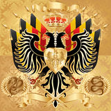 Monarchy. Powerful coat of arms. Double-headed eagle, banner, crown, dragons etc vector illustration