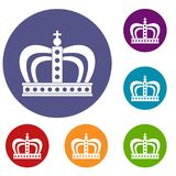 Monarchy crown icons set. In flat circle red, blue and green color for web Stock Photos